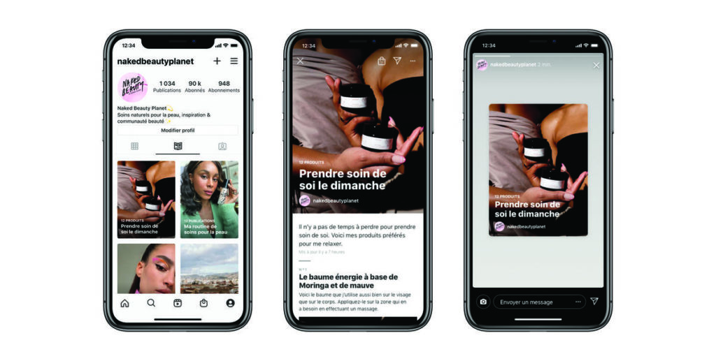 3 téléphones montrant des conseils pour prendre de soi grâce aux guide sur instagram