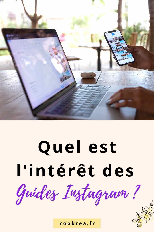epingle pour pinterest avec ordinateur posé  sur une table une main tenant un smartphone dans la main droite