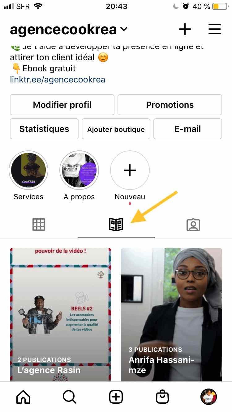 l'onglet guides instagram apparait sur son profil