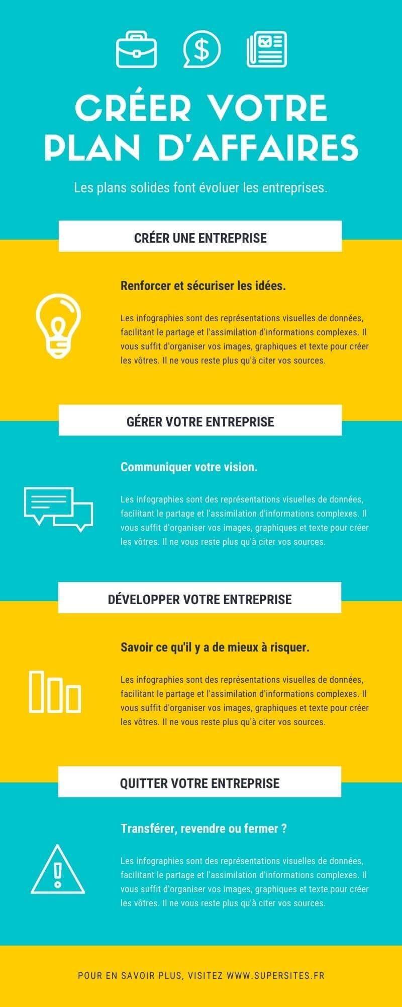 infographie business plan bleu et jaune